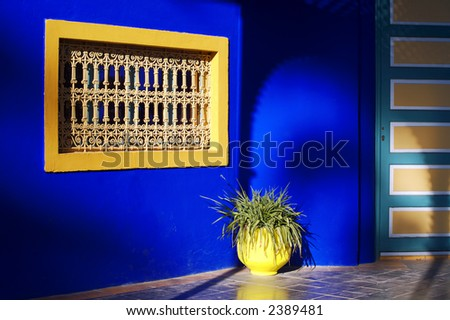 Window and planter at the Majorelle Gardens, Marrakesh, Morocco