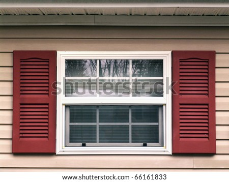 Window and shutters - stock photo