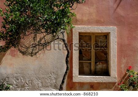 Window and tree in the Mediterranean