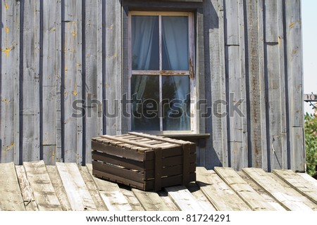 window and wall of a vintage wood house, western - stock photo