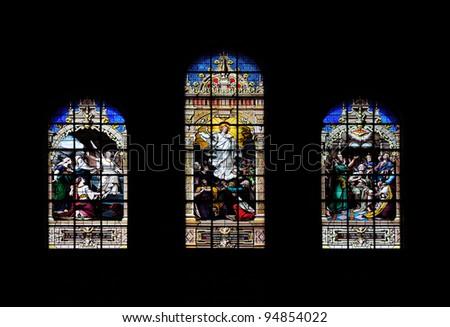 Window art in Boston Trinity Church. - stock photo