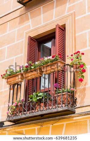 Window Balcony with Potted Flowers Blooming in Typical European Residence