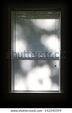 Window blinds with tree shadows reflected. - stock photo