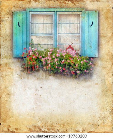 Window-box overflowing with flowers and blue shutters. Copy-space for your text.