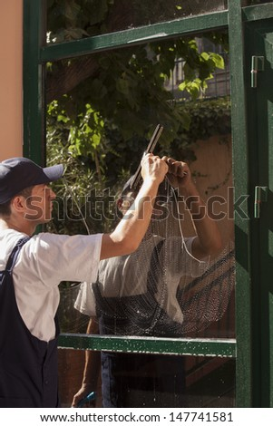 window cleaning - stock photo