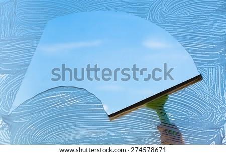 Window, Cleaning, Window Washer. - stock photo