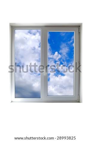 Window close up on white - stock photo