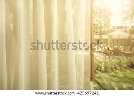 Window curtain - stock photo