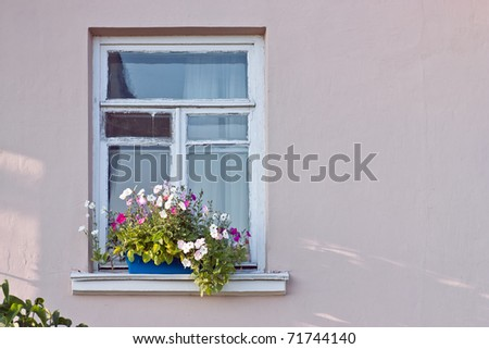 Window decorated with flowers - stock photo
