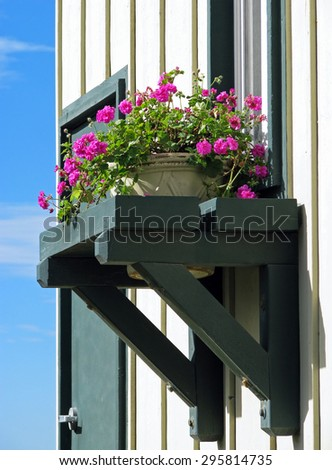 Window Decorated with Fresh Flowers in Box - stock photo