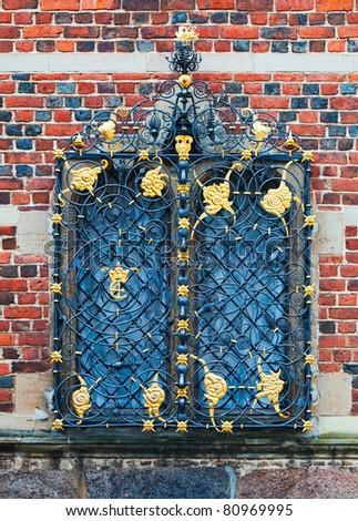 Window detail at the entrance to Frederiksborg Castle, Hillerod, Denmark - stock photo
