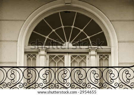 Window detail in Garden district of New Oleans - stock photo
