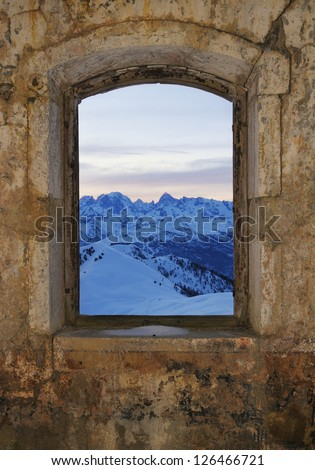 Window - fort Gondran , Montgenevre View of the mountains of the Ecrins - stock photo