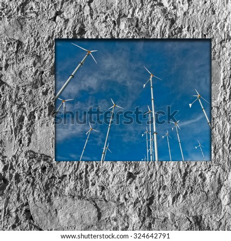 window frame cement and wind turbine - stock photo