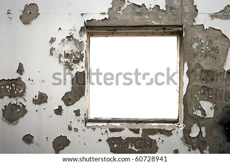 Window frame in an old cracked wall - stock photo