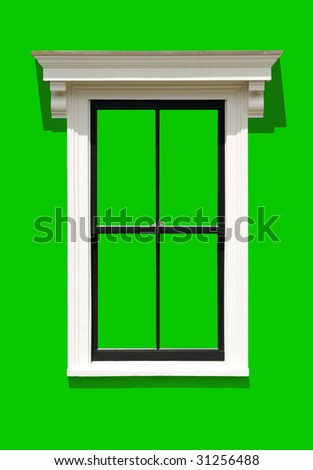 Window frame isolated on green background. Clipping path included.