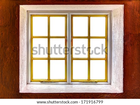 Window frame with cut out windows to be used as template - stock photo