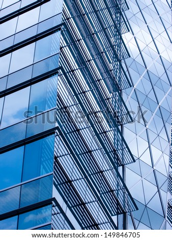 window glass reflection of cloudy sky abstract background - stock photo