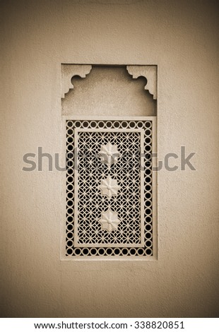 Window grill design of an old middle eastern architecture. Arabic architectural details. - stock photo