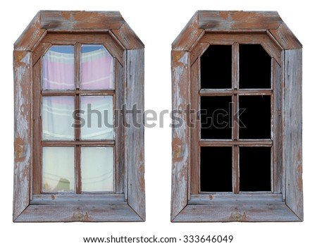 Window in a wooden frame - stock photo
