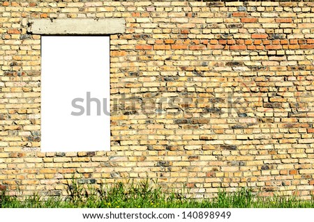 window in grungy old abandoned building - stock photo
