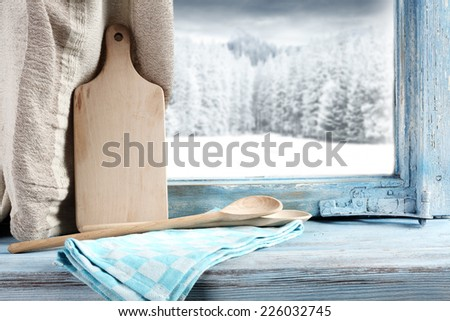 window in kitchen  - stock photo
