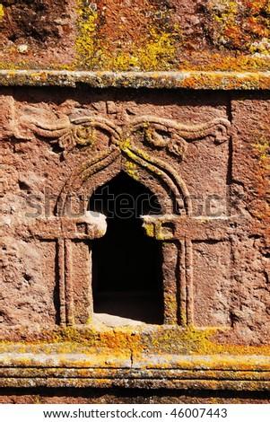 window in Lalibela church - stock photo