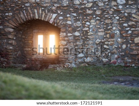 window in old ruin  - stock photo
