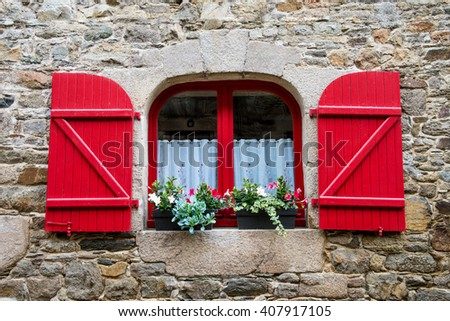 Window in old stone house France  - stock photo