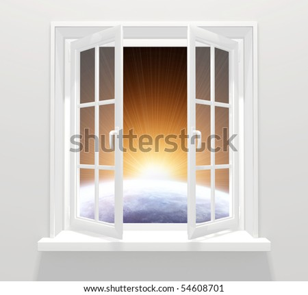 Window in other galaxy - stock photo