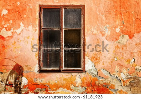 window in the destroyed old house