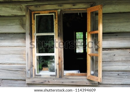Window in the wooden country house