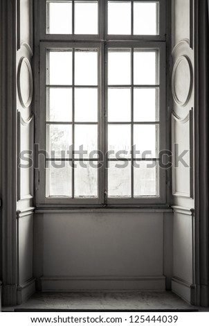 Window in white frame - stock photo