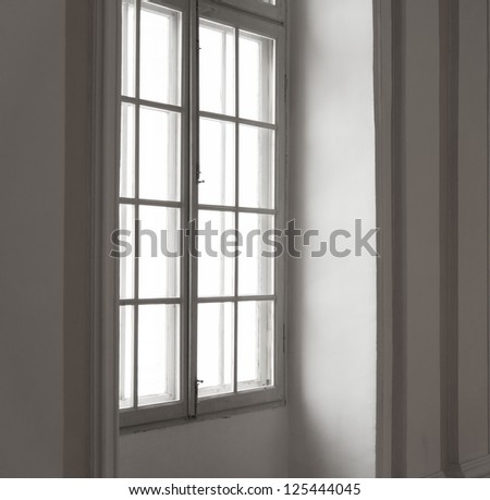 Window in white frame - stock photo
