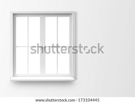 Window isolated on white background - stock photo