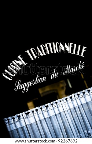Window of a French bistro - stock photo
