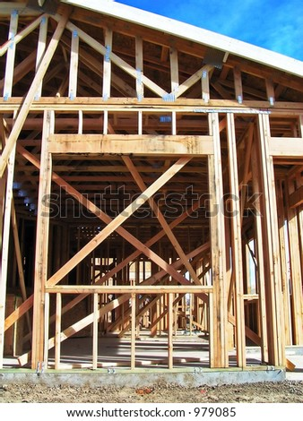 Window of a home under construction - stock photo