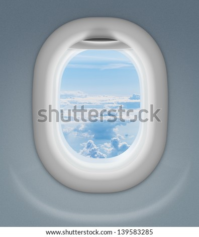 window of airplane or aeroplane - stock photo