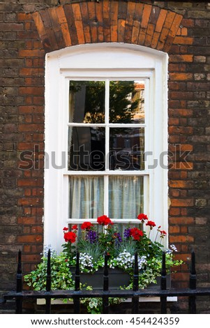 window of an old city house in Westminster, London, UK - stock photo