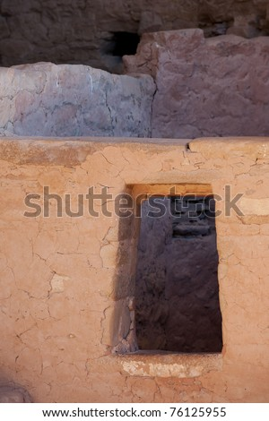 Window of Cliff Palace in Mesa Verde National park, Colorado - stock photo