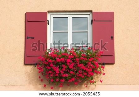 Window of countryhouse, Bavaria, Germany - stock photo