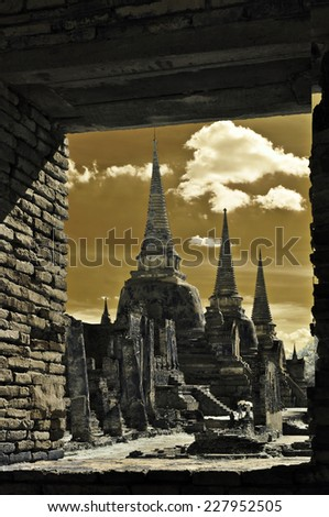Window of history, Old Temple in Ayutthaya Historical Park, Thailand taken in Near Infrared