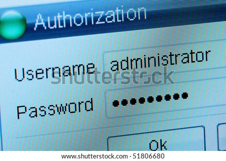 Window of input of a login and the password - stock photo