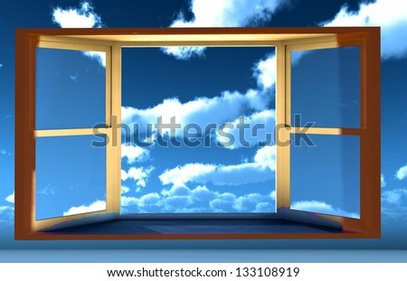 Window of opportunity  overlooking blue  sky  and beautiful summer clouds - stock photo