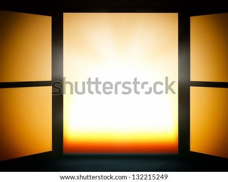Window of opportunity  overlooking  sunset  sun - stock photo