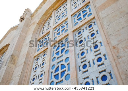 Window of the Church of All Nations, Mount of Olives in Jerusalem, Israel. - stock photo