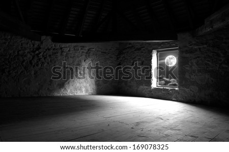 Window of the old castle - stock photo
