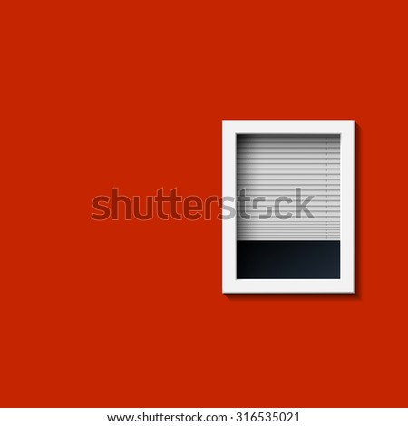 Window on a red wall. Stock image. - stock photo