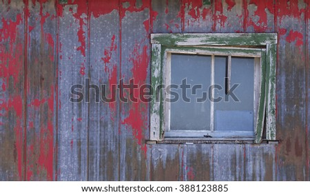 Window on an old barn - stock photo