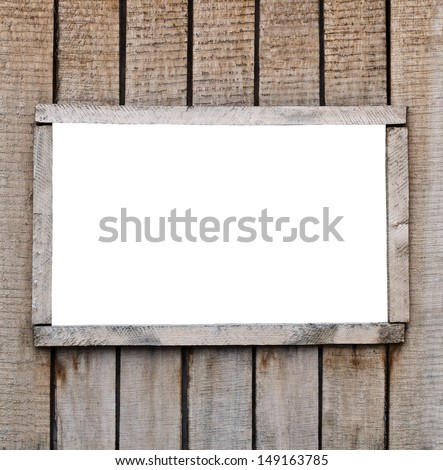 Window on the old wooden boards with a white field - stock photo